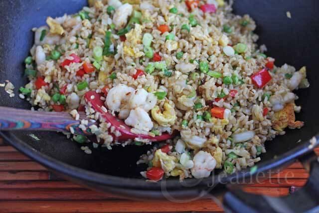 Shrimp Fried Rice in Wok © Jeanette's Healthy Living