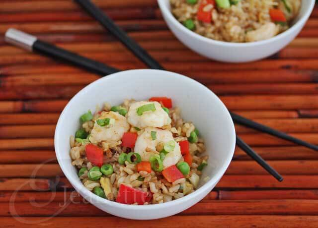 Shrimp Fried Rice with Peppers © Jeanette's Healthy Living