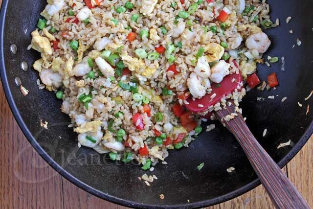 Shrimp Fried Rice in a wok © Jeanette's Healthy Living