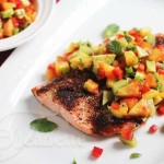 Chili Salmon with Peach Kiwi Avocado Pepper Salsa © Jeanette's Healthy Living