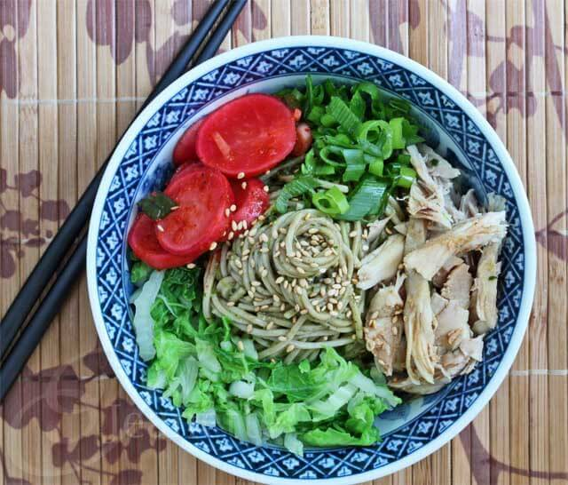 Cold Soba Noodles with Radish Kimchi © Jeanette's Healthy Living