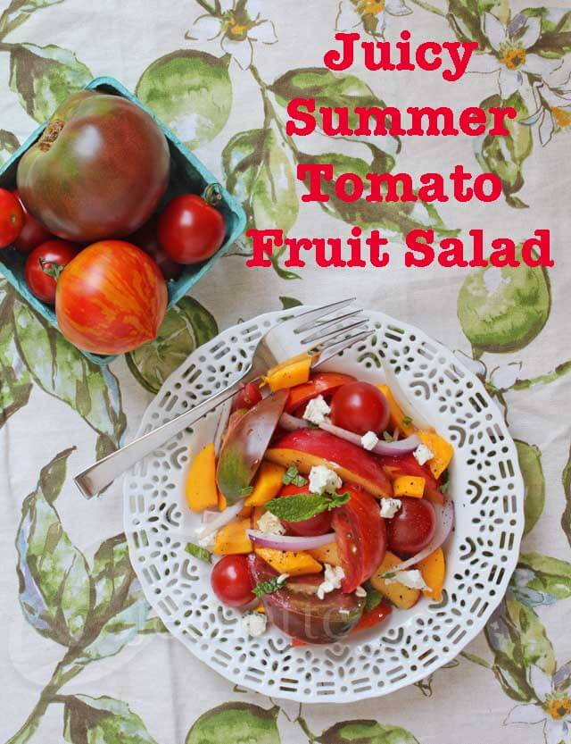 Juicy Heirloom Tomato Fruit Salad © Jeanette's Healthy Living
