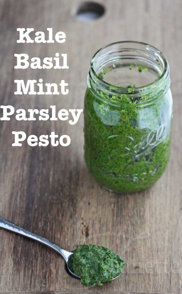 Kale Basil Mint Parsley Pesto © Jeanette's Healthy Living