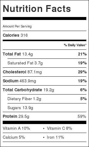 Barbecue Pulled Chicken Nutrition Label