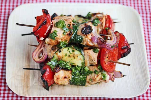 Grilled Chili Garlic Greek Yogurt Chicken Kebabs with Chimichurri © Jeanette's Healthy Living