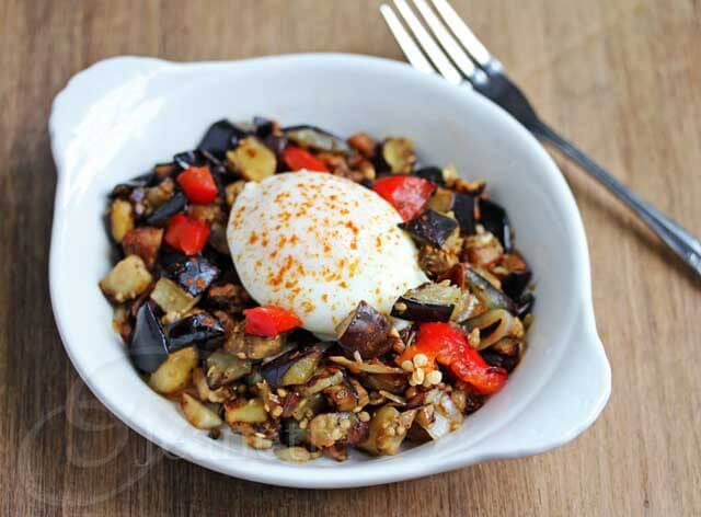 Eggplant Pepper Mushroom Sausage Hash © Jeanette's Healthy Living