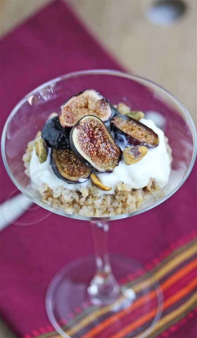 Roasted Fig Yogurt Chai Spiced Sorghum Parfait