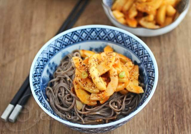 Soba Noodles with Miso Gochujang Cucumber Pickles Recipe