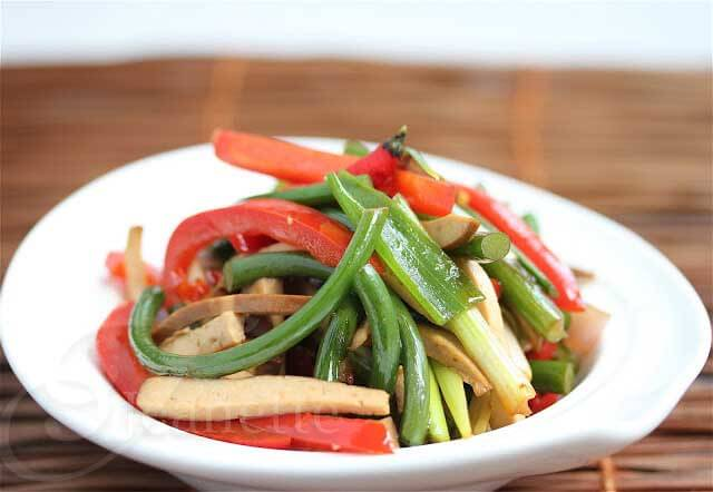 Vegetarian Pressed Bean Curd Garlic Scape Stir Fry © Jeanette's Healthy Living