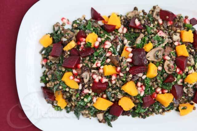 Lentil Kale Whole Grain Beet Winter Squash Mushroom Salad ~ https://jeanetteshealthyliving.com
