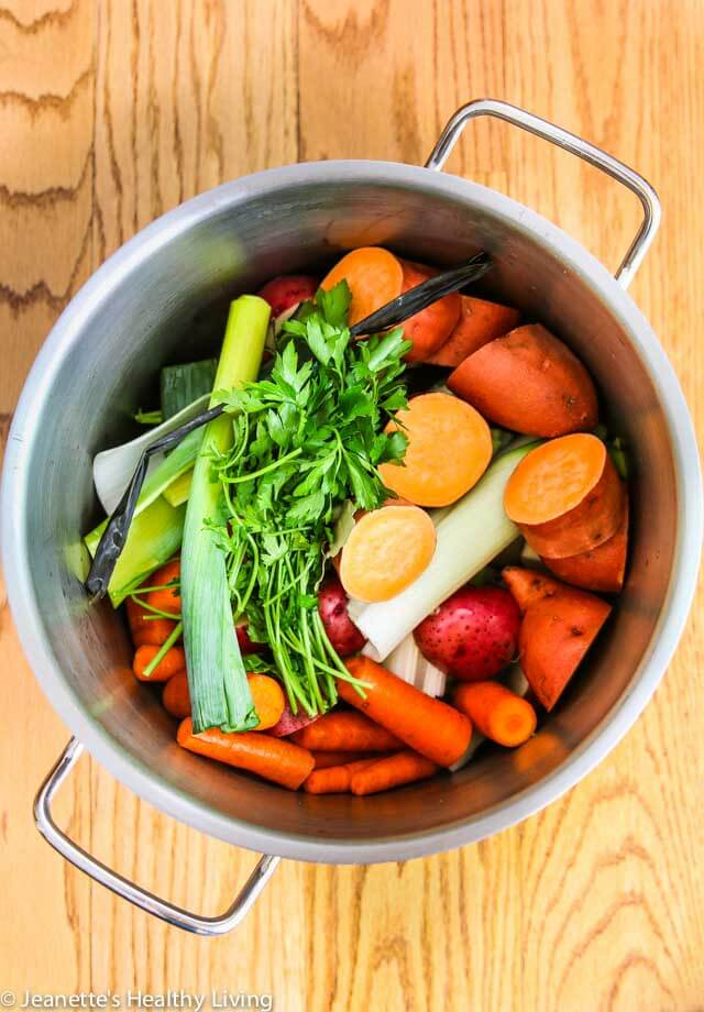 Magic Mineral Broth - this is an organic vegetable broth that serves as the base for vegetarian/vegan soups ~ https://jeanetteshealthyliving.com