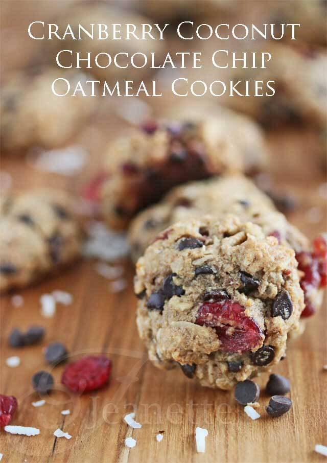 Cranberry Coconut Chocolate Chip Oatmeal Cookies © Jeanette's Healthy Living