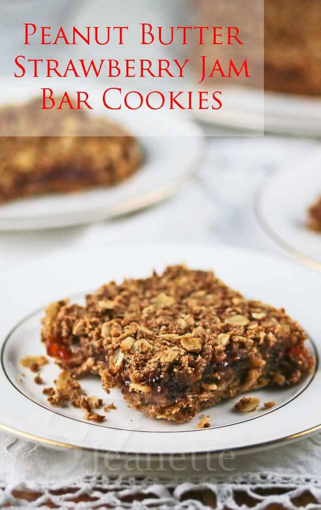 Peanut Butter and Jam Bar Cookies © Jeanette's Healthy Living
