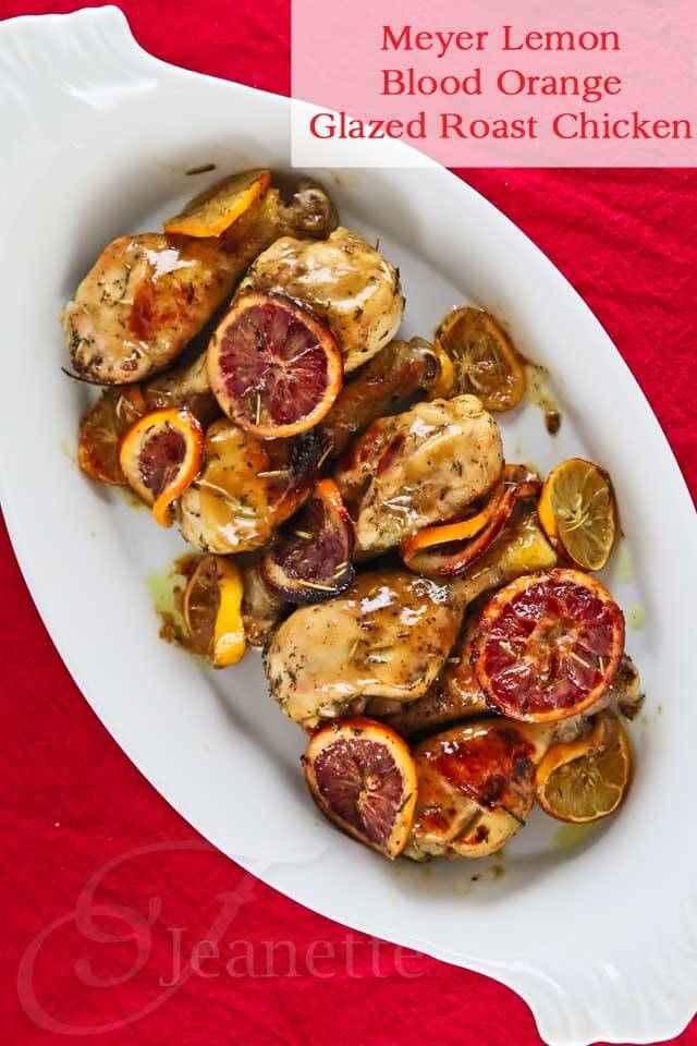 Meyer Lemon Blood Orange Glazed Roast Chicken