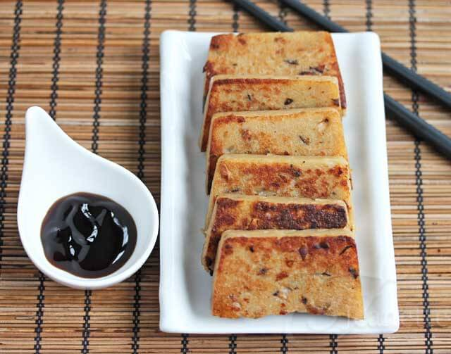 Panfried Chinese Turnip Cake with Oyster Sauce