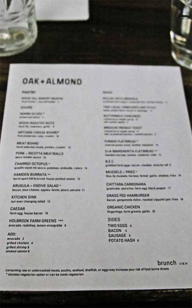 Almond + Oak Menu