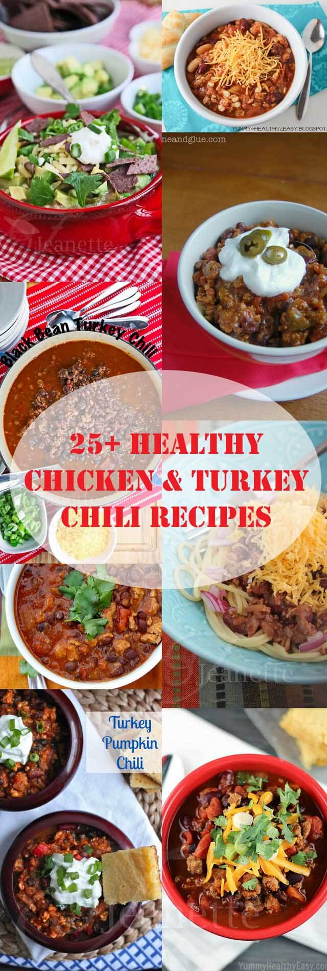Healthy Chicken Turkey Chili Collage © Jeanette's Healthy Living