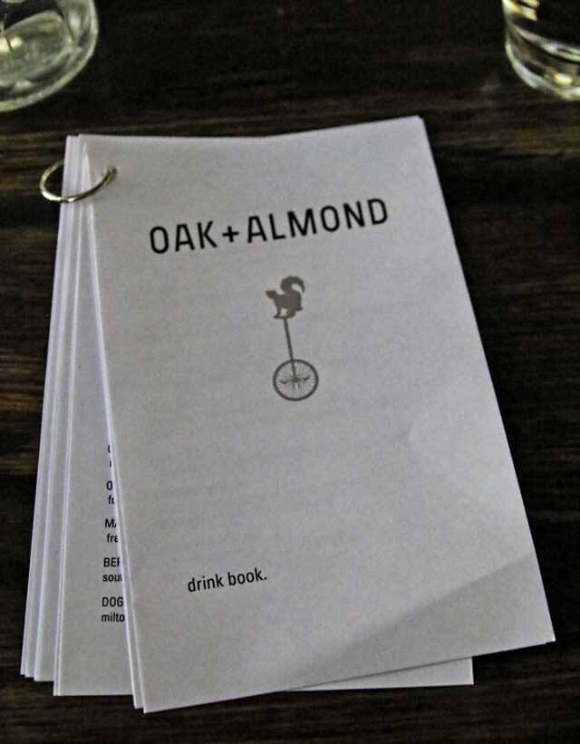 Oak + Almond Drink Menu