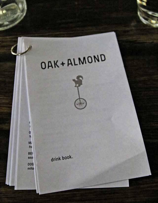 Oak + Almond Drink Menu