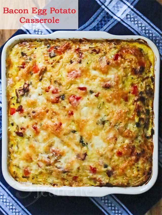 Bacon Egg Potato Casserole © Jeanette's Healthy Living