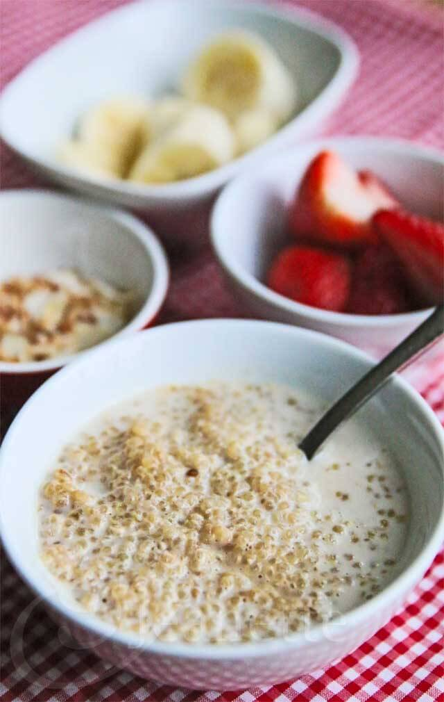 Breakfast Coconut Milk Quinoa with Fresh Fruit - this healthy hearty breakfast is the perfect way to start the day
