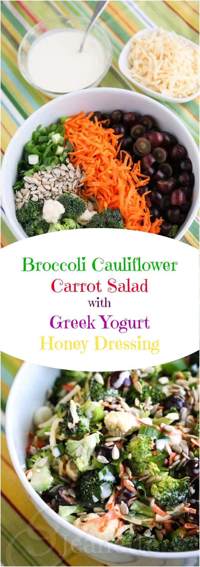 Broccoli Cauliflower Carrot Salad with Greek Yogurt Honey Dressing - you're going to love the light creamy dressing made with Greek yogurt - it's sweet and tangy