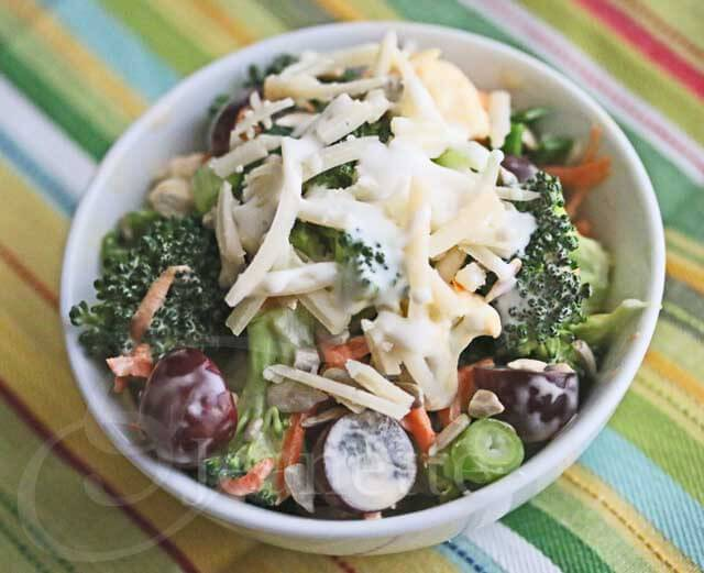 Broccoli Cauliflower Carrot Salad with Cheese