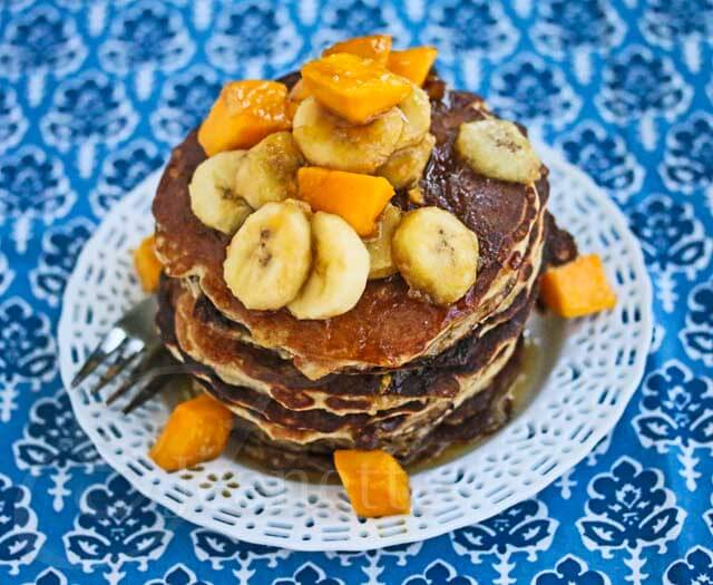 Oatmeal Almond Pancakes with Maple Mango Banana Topping Recipe
