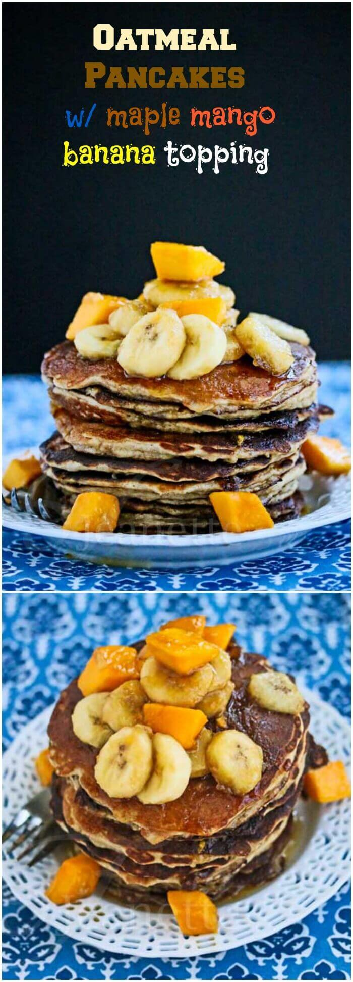 Oatmeal Almond Pancakes with Maple Mango Banana Topping