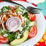 Buffalo Chicken Burger Salad © Jeanette's Healthy Living