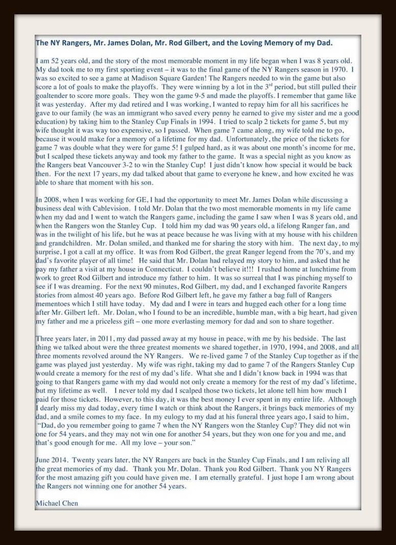 Michael Rangers Hockey Letter