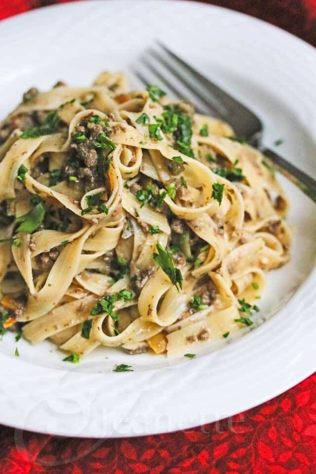 Healthy Mushroom Beef Stroganoff © Jeanette's Healthy Living