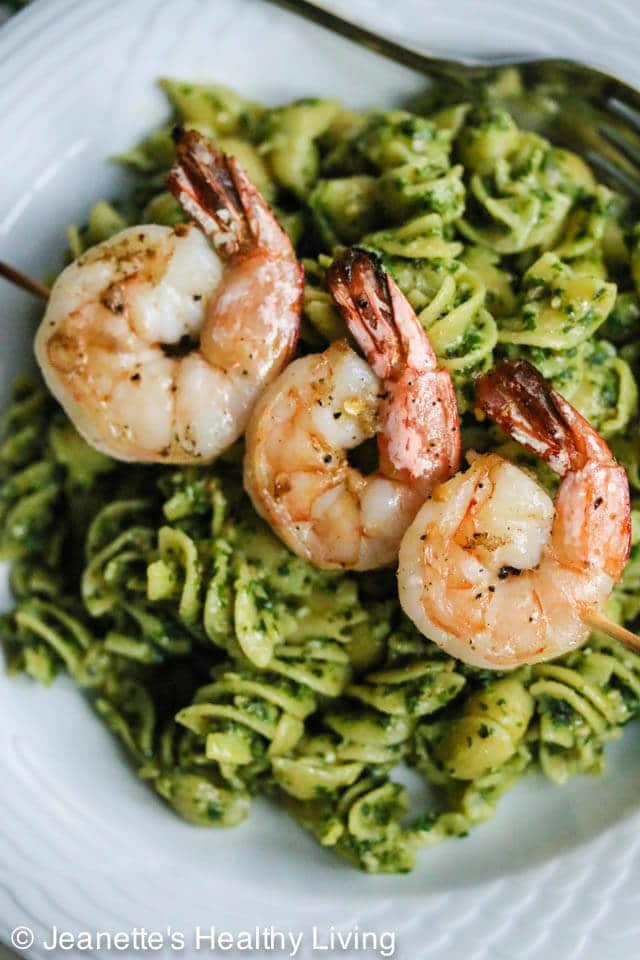 Grilled Chili Garlic Shrimp with Pesto Pasta - this easy, delicious and healthy meal takes just 30 minutes to make
