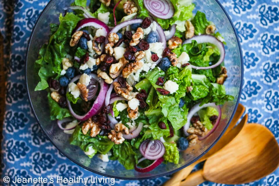 Blueberry Cranberry Aged Goat Cheese Walnut Salad © Jeanette's Healthy Living