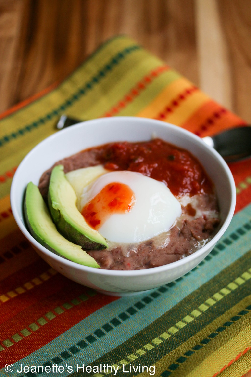 Breakfast Refried Bean Bowl © Jeanette's Healthy Living