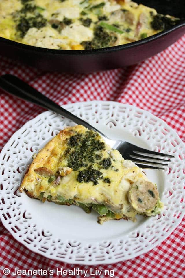 Corn Asparagus Pesto Frittata © Jeanette's Healthy Living