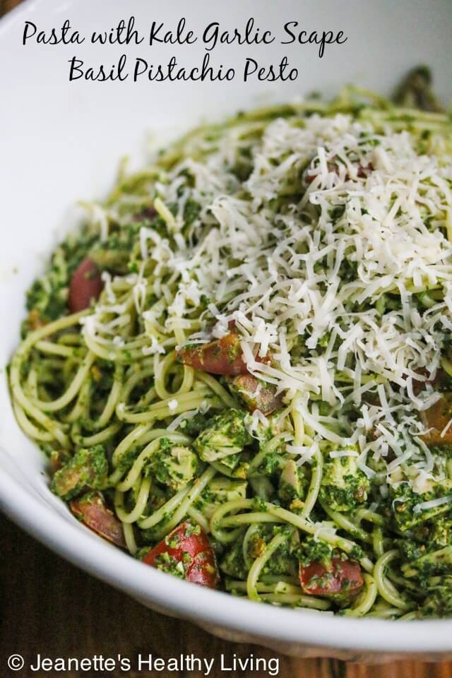 Kale Basil Pistachio Garlic Scape Pesto - delicious stirred into cold or hot pasta, spread on sandwiches, stirred into hummus, served with grilled chicken or fish