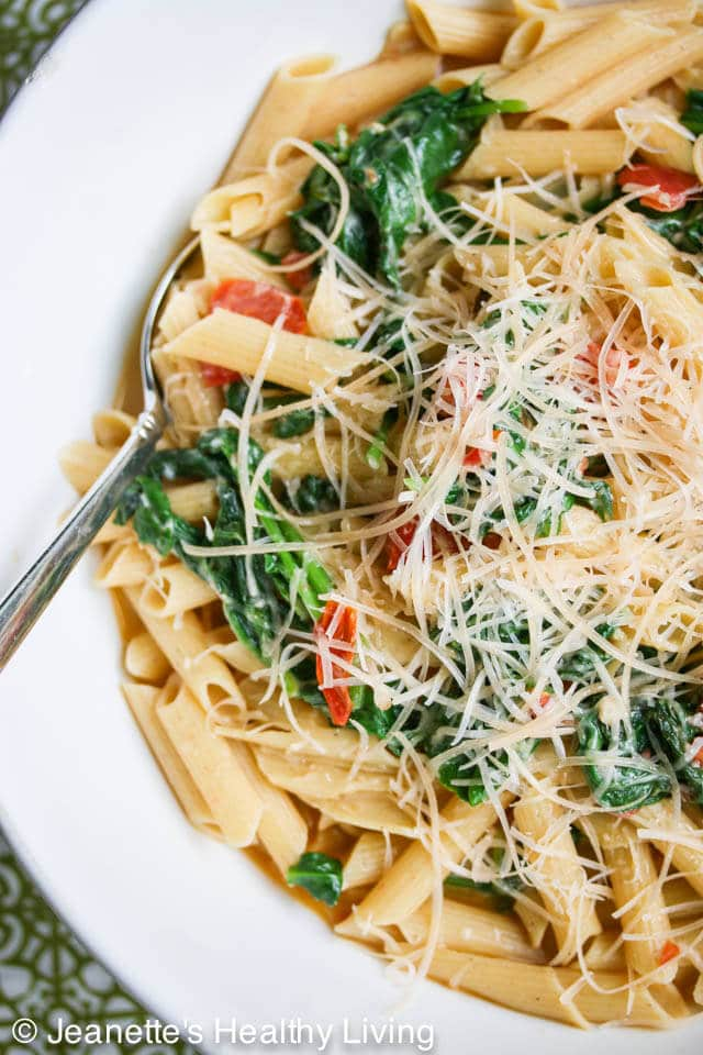 Easy Pasta with Spinach Tomatoes and Parmesan Cheese Recipe