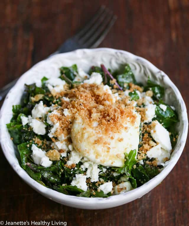 Massaged Kale Salad with Feta, Garlic Panko Crumbs and Poached Egg © Jeanette's Healthy Living