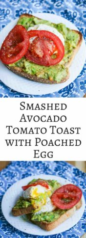 Smashed Avocado Tomato Toast with Poached Egg - delicious, healthy and easy breakfast to make
