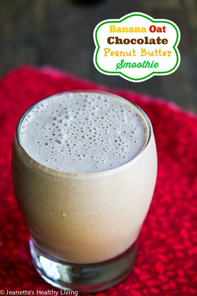 Perfect for breakfast! Protein Packed Banana Oat Chocolate Smoothie © Jeanette's Healthy Living