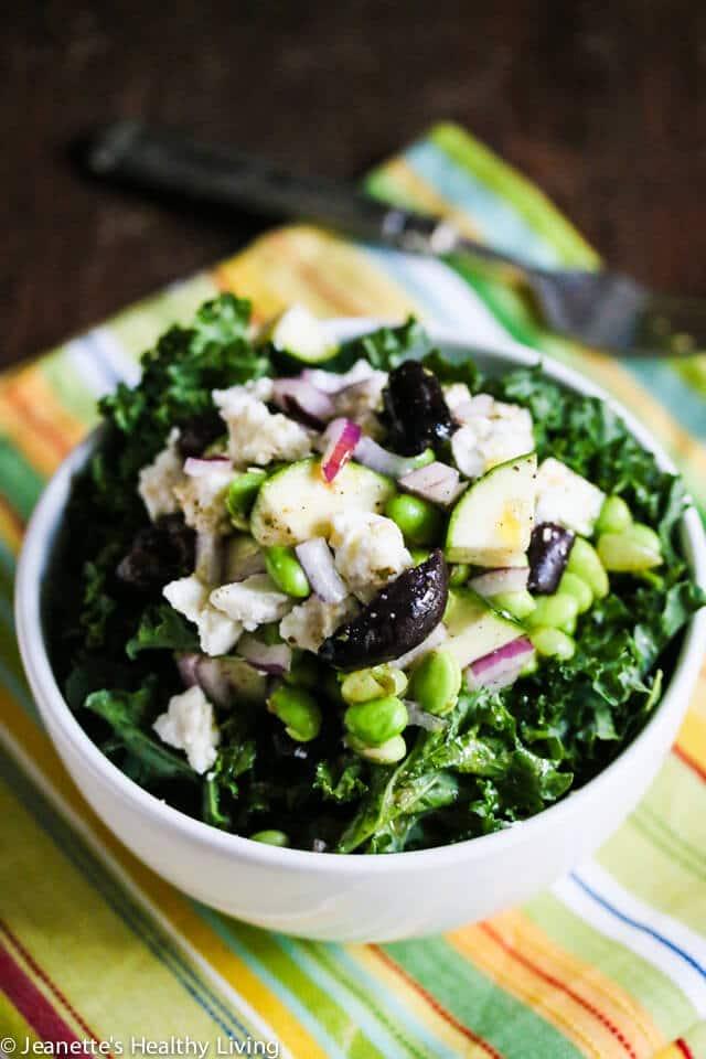 Edamame Kale Zucchini Greek Salad © Jeanette's Healthy Living
