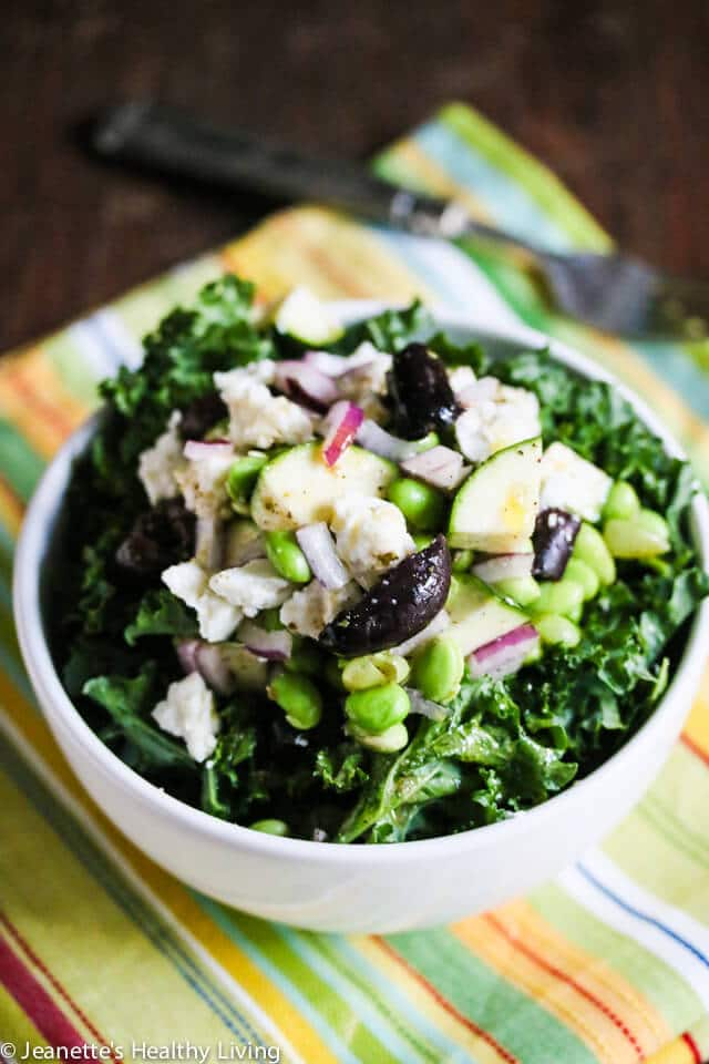 Edamame Kale Zucchini Greek Salad © Jeanette's Healthy Living