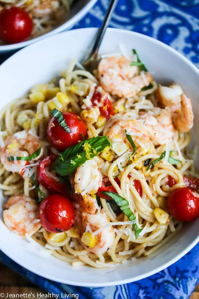 30 Minute Lemon Pasta with Shrimp Corn Tomatoes & Basil © Jeanette's Healthy Living