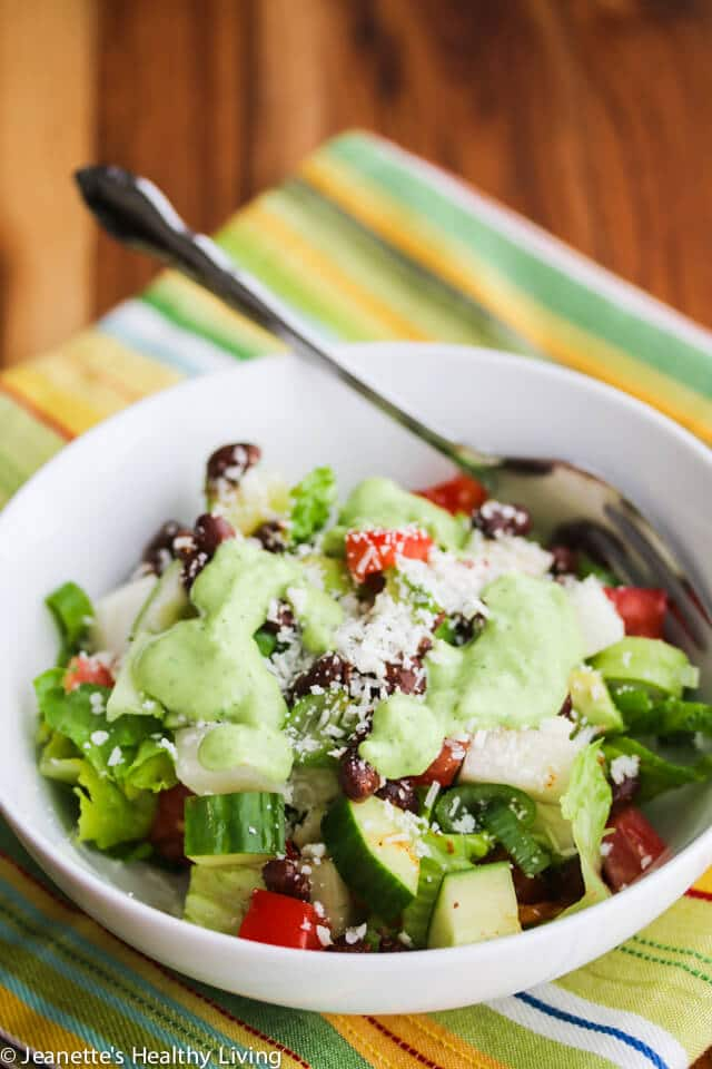Mexican Chopped Salad with Creamy Cilantro Lime Dressing - the creamy no-fat dressing is deceptively rich tasting