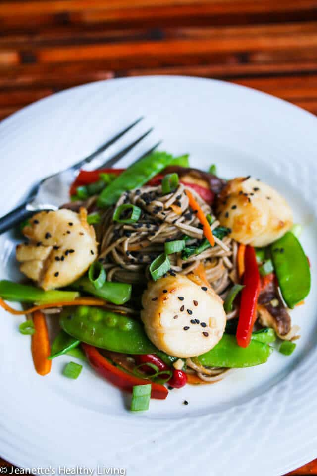 Miso Orange Glazed Scallops with Stir-Fry Vegetable Soba Noodles Recipe