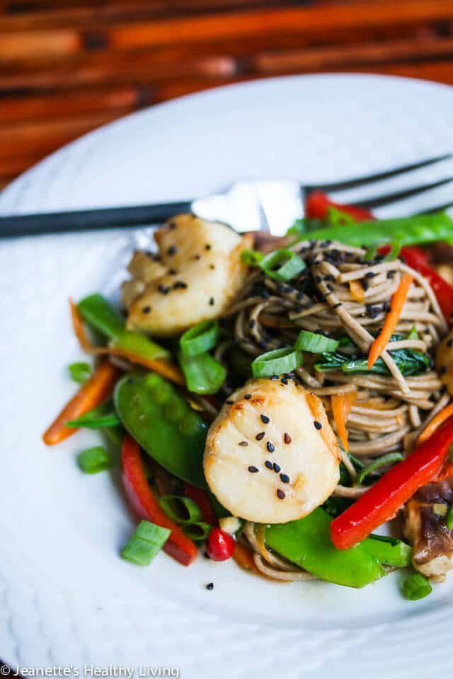 Miso Glazed Scallops with Stir Fry Vegetable Soba Noodles © Jeanette's Healthy Living