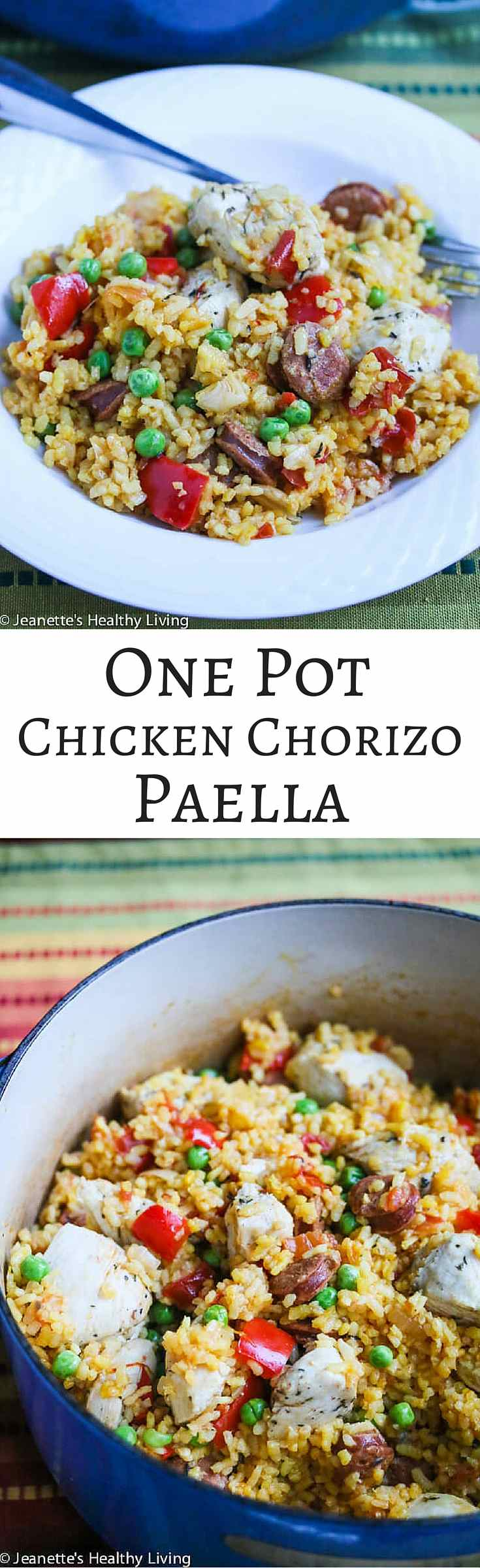 One Pot Chicken Chorizo Paella - so delicious and flavorful and all cooked in one pot!