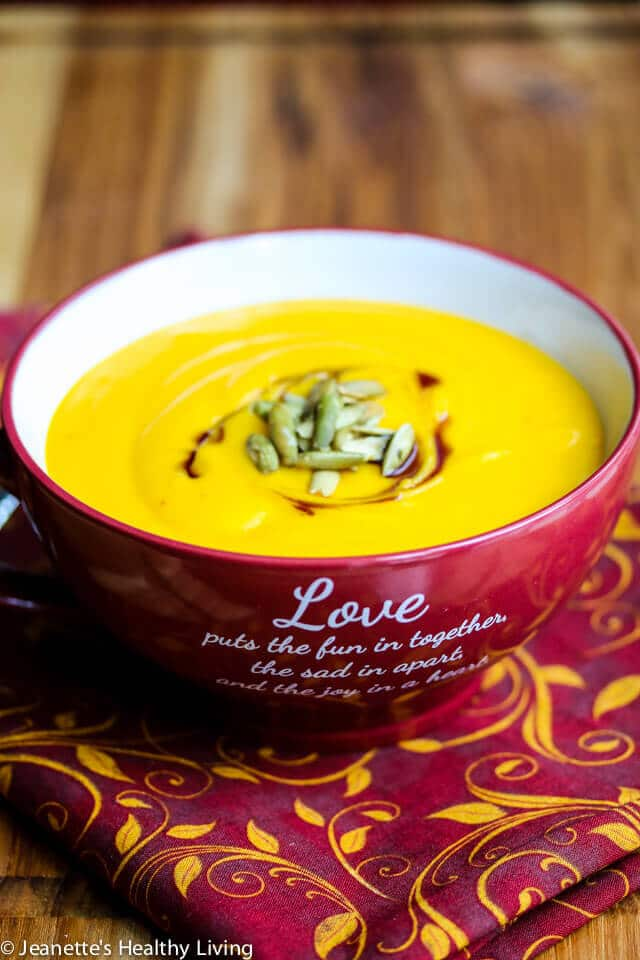Creamy Red Curry Coconut Butternut Squash Soup - just 4 ingredients make this creamy flavorful soup!