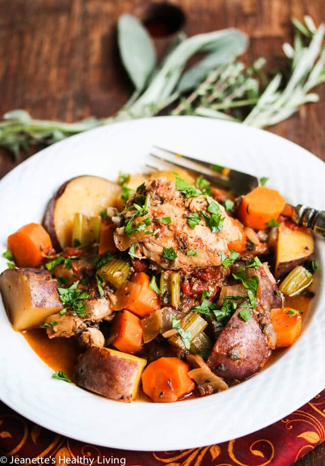 Slow Cooker Chicken Vegetable Stew Recipe - learn what vegetables, herbs and spices go well in chicken stew, and how to make a healthy chicken stew ~ https://jeanetteshealthyliving.com